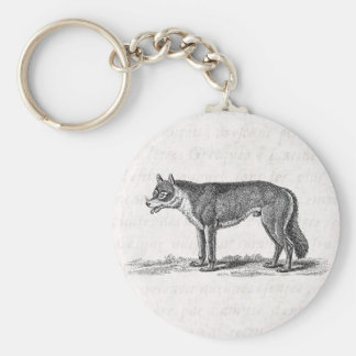 Vintage Wolf Illustration -1800's Wolves Template Keychain