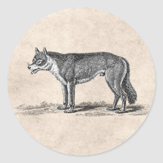 Vintage Wolf Illustration -1800's Wolves Template Classic Round Sticker
