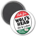 Vintage Wolfs Head distressed sign 3 Inch Round Magnet