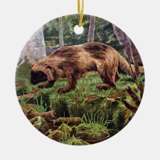 Vintage Wolverine Illustration Christmas Tree Ornaments