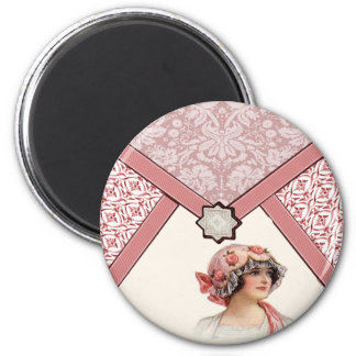 Vintage Woman 2 Inch Round Magnet