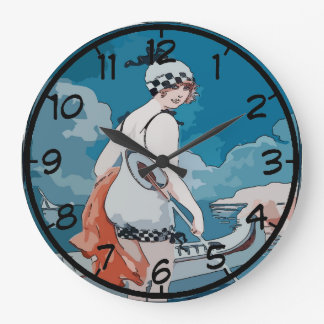 Vintage Woman and Canoe Clock
