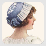 Vintage Woman and Hat Sticker Square Stickers