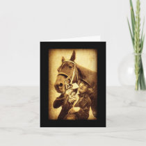 Vintage Woman and Horse Birthday Card