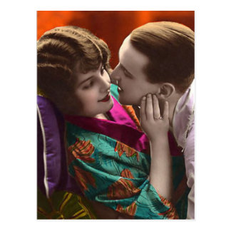 vintage woman and man in romantic embrace postcard