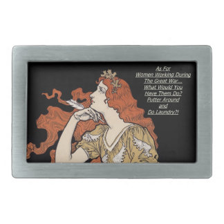 Vintage Woman at Her Writing Desk Rectangular Belt Buckles