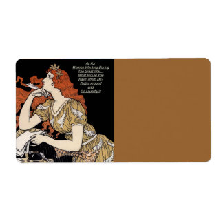Vintage Woman at Her Writing Desk Label