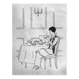 Vintage Woman at Tea Postcard