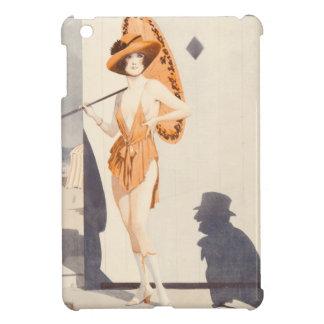 Vintage Woman Bathing Suit Parasol Shadow Man iPad Mini Cover