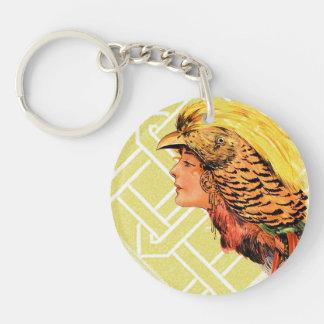 Vintage Woman Bird Headress Yellow Red Orange Keychain