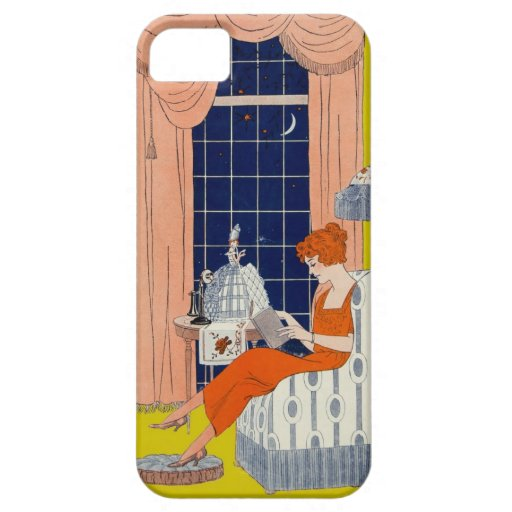 Vintage Woman Book Chair Window Sheet Music Cover iPhone 5 Case
