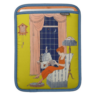 Vintage Woman Book Chair Window Sheet Music Cover Sleeves For iPads