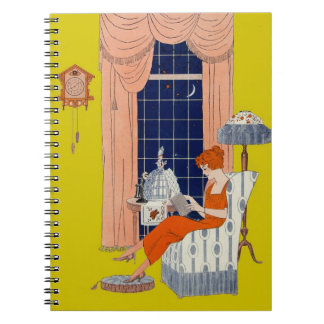 Vintage Woman Book Chair Window Sheet Music Cover Notebooks