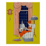 Vintage Woman Book Chair Window Sheet Music Cover Poster