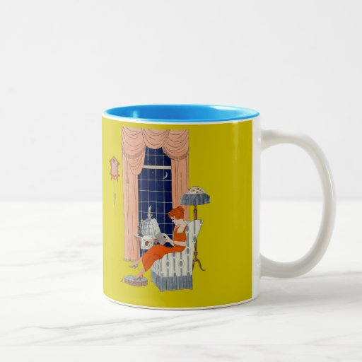 Penguin Book Cover Coffee Mugs : Vintage woman book chair window sheet music cover two tone