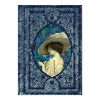 Vintage Woman Book Cover Save The Date Card