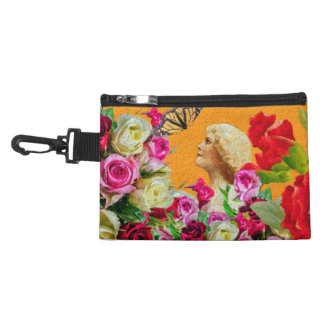 Vintage Woman Butterfly Floral Collage Accessory Bag