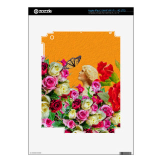 Vintage Woman Butterfly Floral Collage iPad 3 Skins
