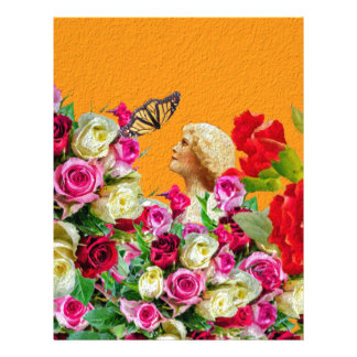 Vintage Woman Butterfly Floral Collage Letterhead