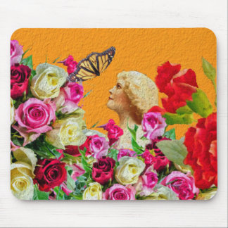 Vintage Woman Butterfly Floral Collage Mouse Pad