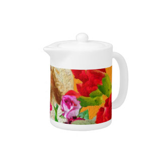 Vintage Woman Butterfly Floral Collage Teapot