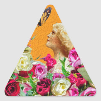 Vintage Woman Butterfly Floral Collage Triangle Sticker