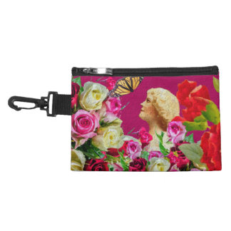 Vintage Woman Butterfly Floral Pink Accessory Bag