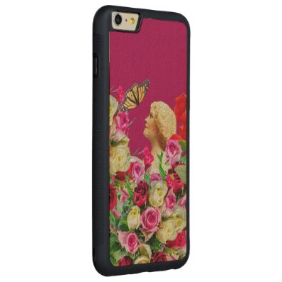 Vintage Woman Butterfly Floral Pink Carved® Maple iPhone 6 Plus Bumper Case