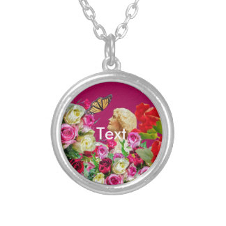 Vintage Woman Butterfly Floral Pink Silver Plated Necklace