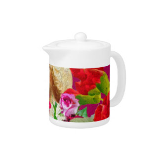 Vintage Woman Butterfly Floral Pink Teapot