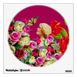 Vintage Woman Butterfly Floral Pink Wall Sticker