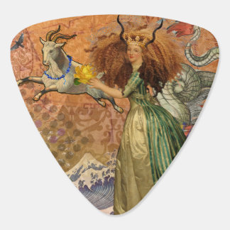 Vintage Woman Capricorn Whimsical Surreal Fantasy Guitar Pick