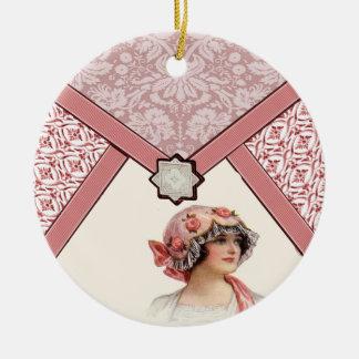 Vintage Woman Ceramic Ornament
