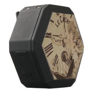 Vintage Woman Clock Cat Flowers Black Bluetooth Speaker