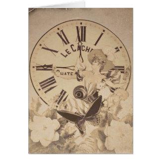 Vintage Woman Clock Cat Flowers Card
