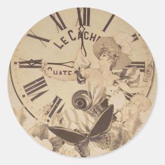 Vintage Woman Clock Cat Flowers Classic Round Sticker