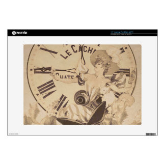 "Vintage Woman Clock Cat Flowers Decals For 15"" Laptops"