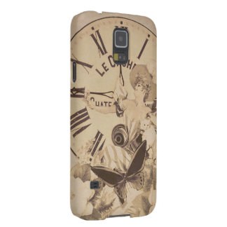 Vintage Woman Clock Cat Flowers Galaxy S5 Covers