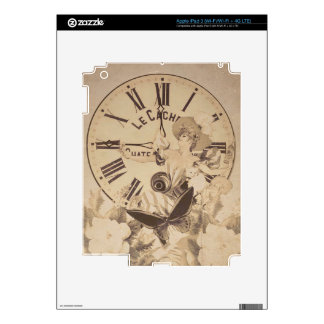 Vintage Woman Clock Cat Flowers iPad 3 Decals