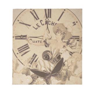 Vintage Woman Clock Cat Flowers Notepad