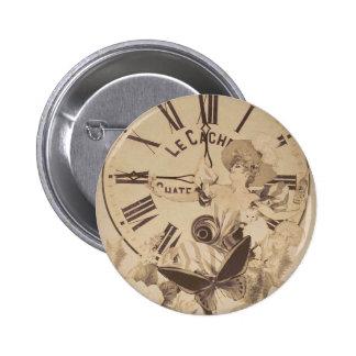 Vintage Woman Clock Cat Flowers Pinback Button