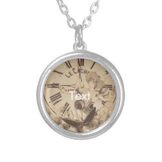 Vintage Woman Clock Cat Flowers Round Pendant Necklace