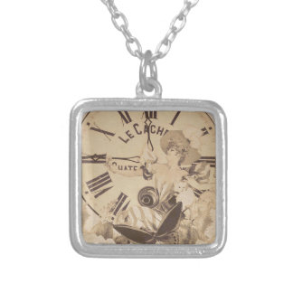 Vintage Woman Clock Cat Flowers Square Pendant Necklace
