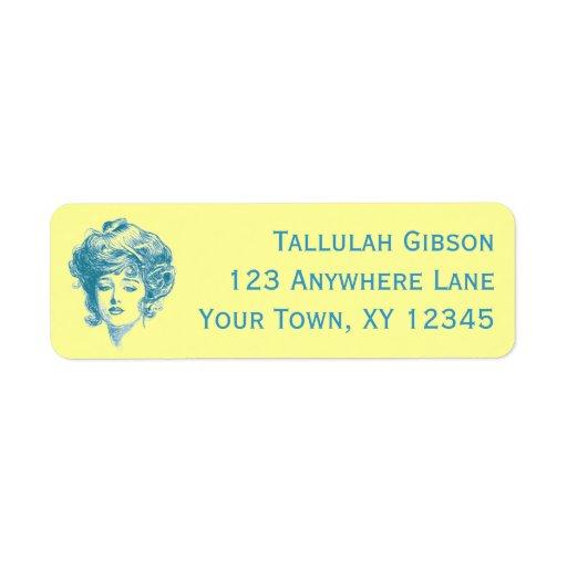 Vintage Woman Custom Return Address Label