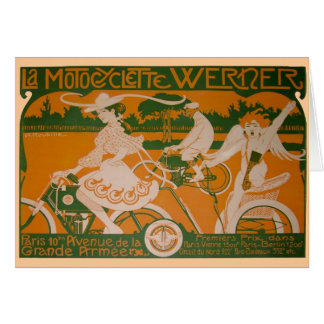 Vintage Woman Cycling with Cupid Card