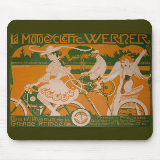 Vintage Woman Cycling with Cupid Mouse Pads