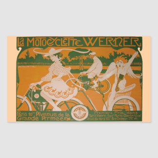 Vintage Woman Cycling with Cupid Rectangular Sticker