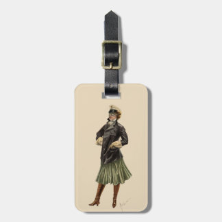 Vintage Woman Dressed in Automobile Fashion Goggle Tag For Luggage