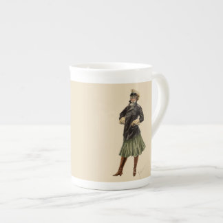 Vintage Woman Dressed in Automobile Fashion Goggle Tea Cup