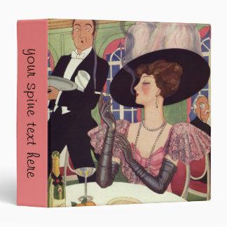 Vintage Woman Drinking Champagne Smoking Cigarette 3 Ring Binders
